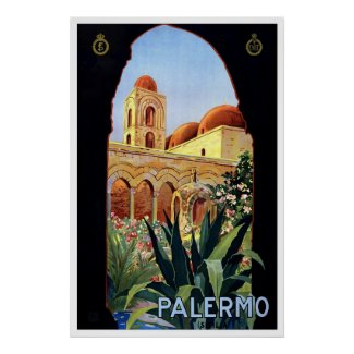 """Palermo"" Vintage Travel Poster"