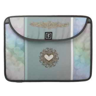 Palest Mint Green Bokeh Glitter Macbook Sleeve