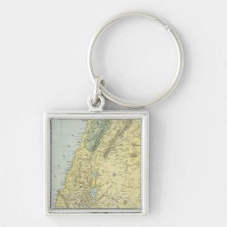 Palestina 4 llavero cuadrado plateado