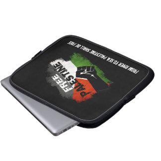 Palestina libre - bandera del Grunge con cita Fundas Computadoras