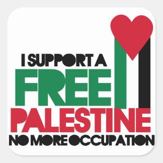 Palestina libre pegatina cuadrada