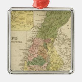 Palestina y países adyacentes adorno navideño cuadrado de metal