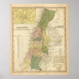 Palestina y países adyacentes póster