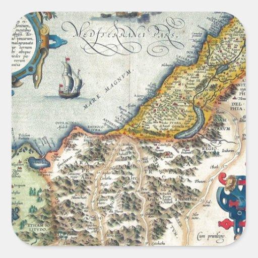 Palestinae 1570 Hondius - mapa del vintage Calcomania Cuadradas Personalizadas