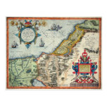 Palestinae 1570 Hondius - mapa del vintage Tarjeta Postal