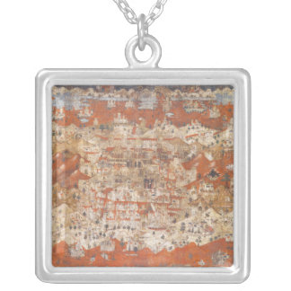 Palestine 15th Century Topography of the Holy Land Silver Plated Necklace
