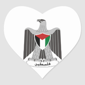 Palestine Coat of Arms Heart Sticker