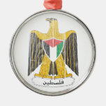 Palestine Coat of Arms Round Metal Christmas Ornament