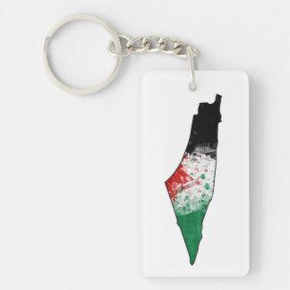 Palestine Country Outline Flag Key Ring Single-Sided Rectangular Acrylic Keychain