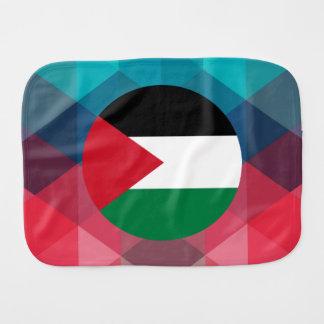 Palestine flag circle on modern bokeh baby burp cloth