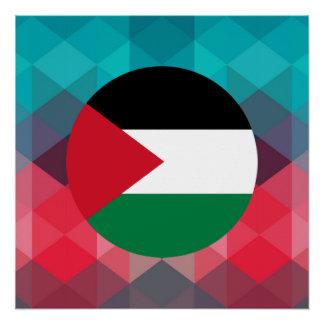 Palestine flag circle on modern bokeh poster