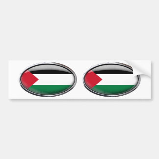Palestine Flag Glass Oval Bumper Sticker