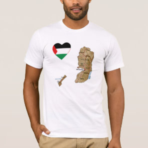 Palestine Flag Heart and Map T-Shirt