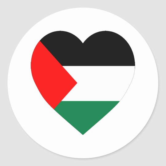 Palestine Flag Heart Classic Round Sticker
