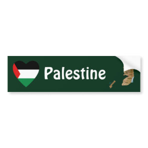 Palestine Flag Heart   Map Bumper Sticker