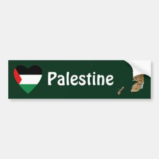 Palestine Flag Heart + Map Bumper Sticker
