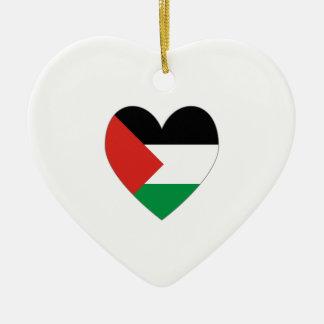 Palestine Flag Heart Valentine Double-Sided Heart Ceramic Christmas Ornament
