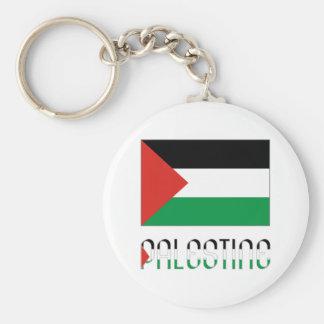 Palestine Flag & Name Basic Round Button Keychain