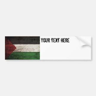Palestine Flag on Old Wood Grain Bumper Sticker