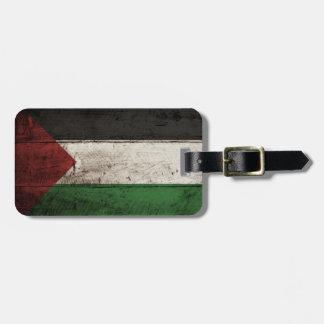 Palestine Flag on Old Wood Grain Luggage Tags