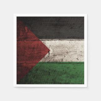 Palestine Flag on Old Wood Grain Napkin