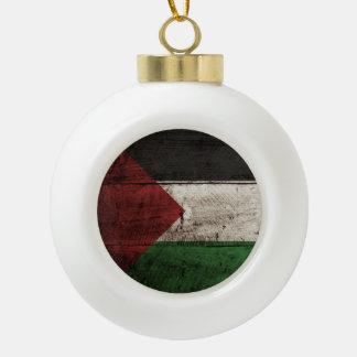 Palestine Flag on Old Wood Grain Ornaments