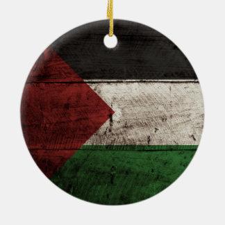 Palestine Flag on Old Wood Grain Ornament
