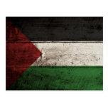 Palestine Flag on Old Wood Grain Postcard