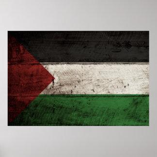 Palestine Flag on Old Wood Grain Poster
