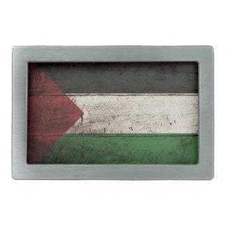 Palestine Flag on Old Wood Grain Rectangular Belt Buckle