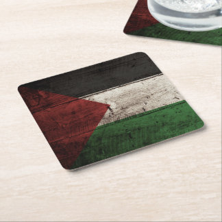 Palestine Flag on Old Wood Grain Square Paper Coaster