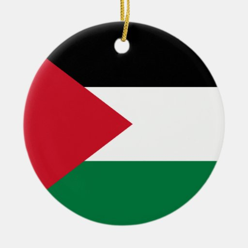 Palestine Flag Double-Sided Ceramic Round Christmas Ornament
