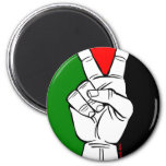 PALESTINE FLAG PEACE SIGN 2 INCH ROUND MAGNET