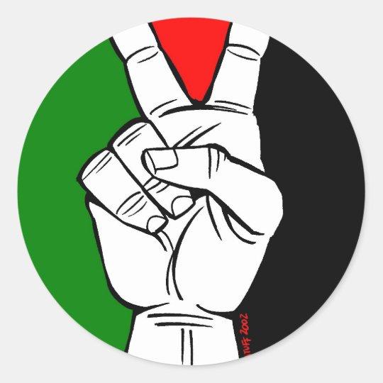PALESTINE FLAG PEACE SIGN CLASSIC ROUND STICKER