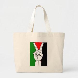 PALESTINE FLAG PEACE SIGN LARGE TOTE BAG