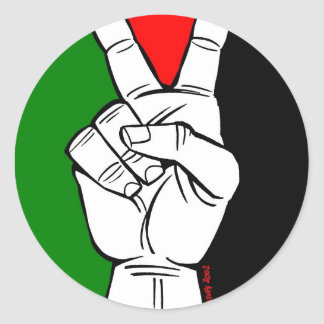 PALESTINE FLAG PEACE SIGN ROUND STICKERS