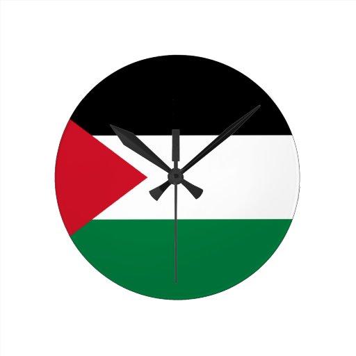 Palestine Flag Round Clocks