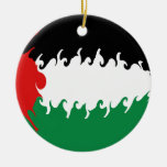 Palestine Gnarly Flag Double-Sided Ceramic Round Christmas Ornament