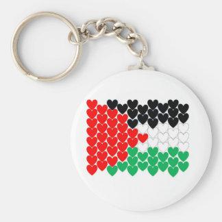 Palestine hearts basic round button keychain