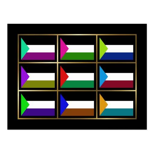 Palestine Multihue Flags Postcard
