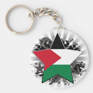 Palestine Star Basic Round Button Keychain
