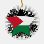 Palestine Star Double-Sided Ceramic Round Christmas Ornament