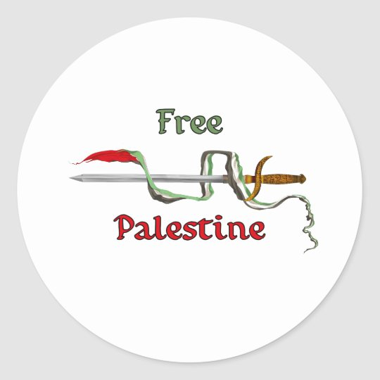Palestine sword surrounded by the Palestinian flag Classic Round Sticker