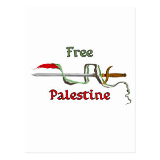 Palestine sword surrounded by the Palestinian flag Postcard