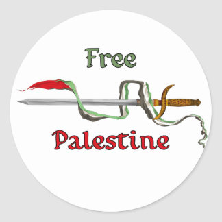 Palestine sword surrounded by the Palestinian flag Round Sticker
