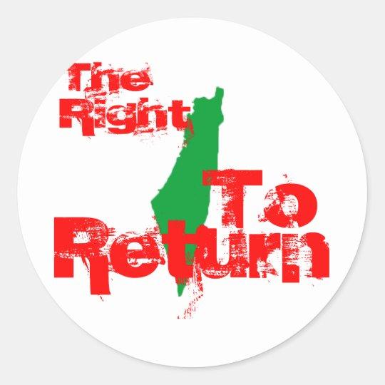 Palestine: The RIght To Return Classic Round Sticker