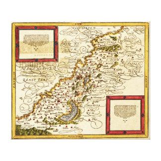 PalestinePanoramic MapPalestine 3 Gallery Wrapped Canvas
