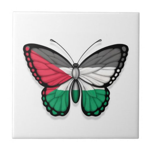 Palestinian Butterfly Flag Ceramic Tiles