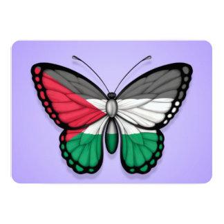 "Palestinian Butterfly Flag on Purple 5"" X 7"" Invitation Card"