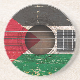 Palestinian Flag on Old Acoustic Guitar Coaster